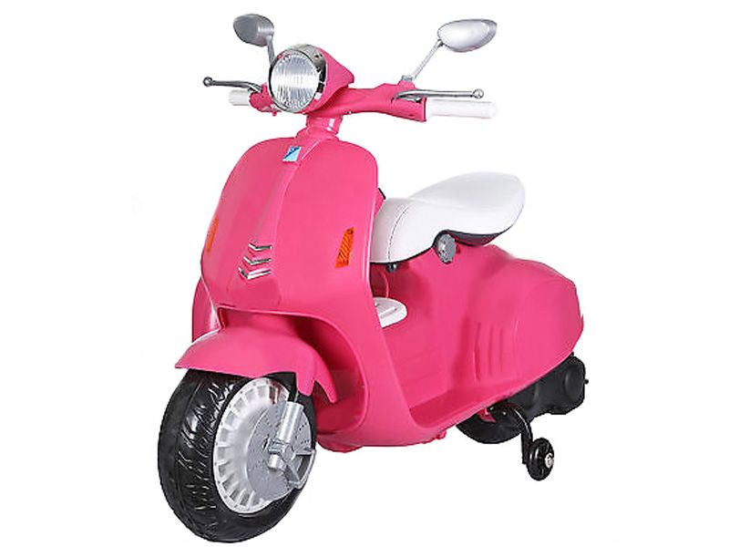 toyandmodelstore electric ride on scooter for kids 12v motorised moped toy pink retro vespa style. Black Bedroom Furniture Sets. Home Design Ideas