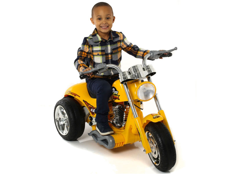 Yellow Chopper Hot Rode Ride On Bike For Kids 6v Electric