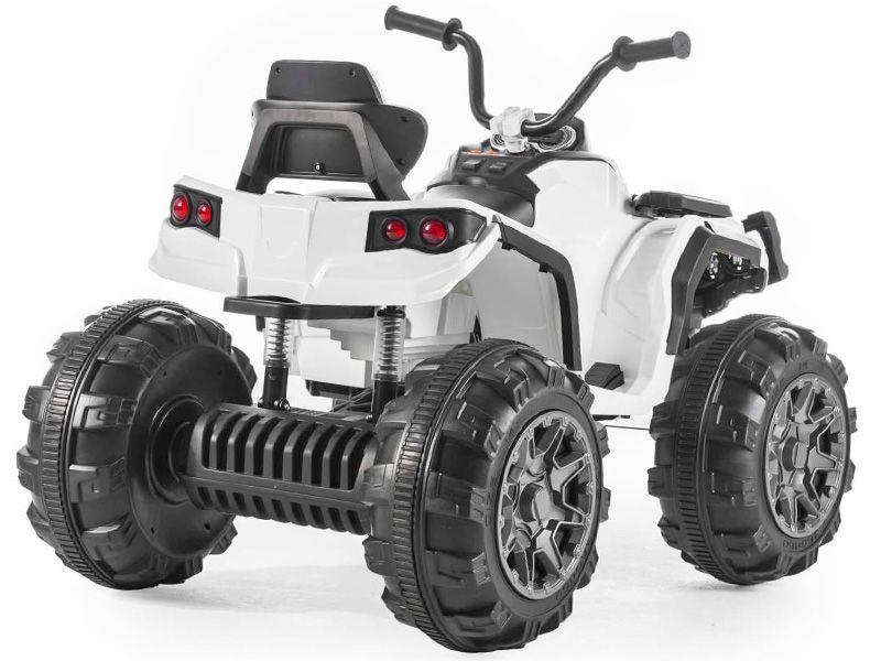 big atv white kids 12 volt electric quad bike battery powered sit and ride on toy. Black Bedroom Furniture Sets. Home Design Ideas