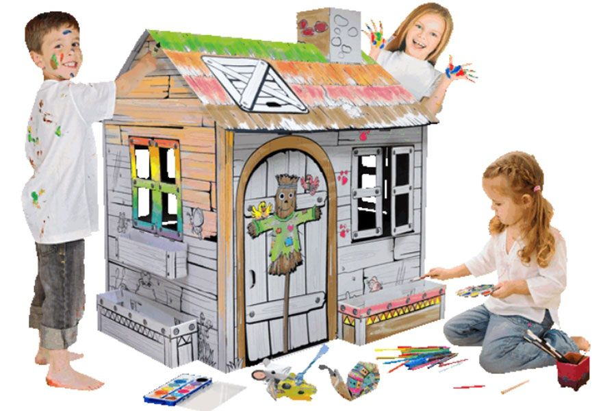 TOYANDMODELSTORE: build and colour farm card board play house ...