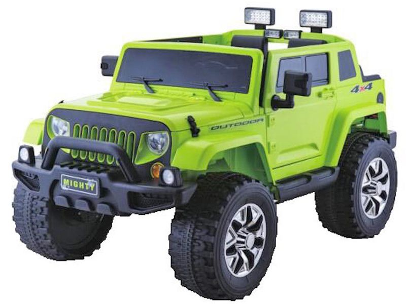 Rubicon Style Green Jeep Kids Sit Ride In Toy Car 4wd 24v Battery Powered