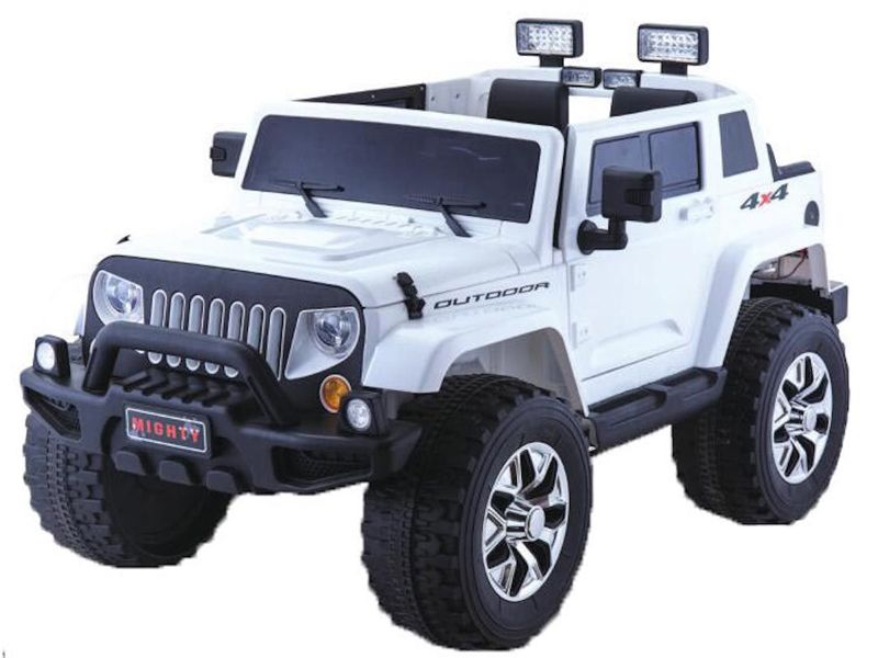 Rubicon Style White Jeep Kids Sit Ride In Toy Car 4wd 24v