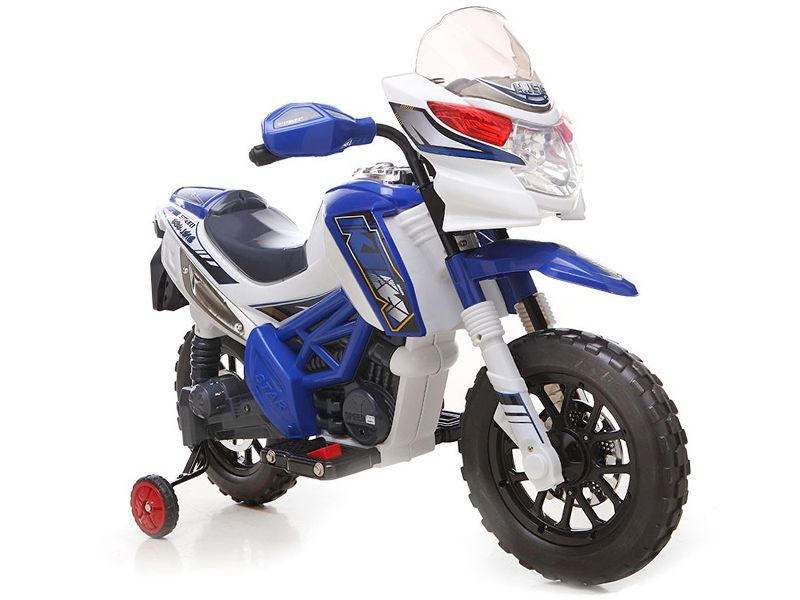 Ride On Bike V Electric Motocross Style Motorcycle With Stabilizers In Blue P