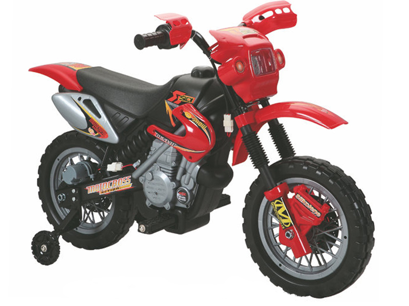 Ride On Bike 6V Electric Scrambler Style Motorcycle With Stabilizers In Red