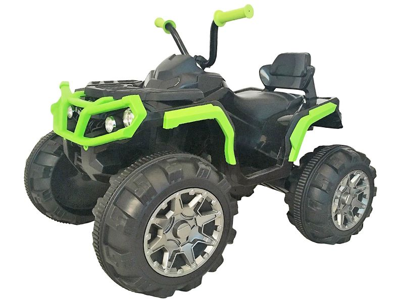 big atv black green 12 volt kids quad bike battery powered sit and ride on toy. Black Bedroom Furniture Sets. Home Design Ideas