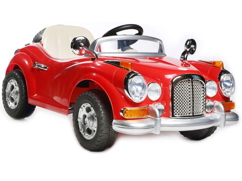 Ride On Car V Electric Vintage Roadster Classic Sportscar Red Colour With Parental Radio Control P